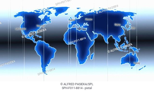 Computer artwork of a world map illustration with indicated time zones and locations of Los Angeles, New York, London, Moscow, Beijing, Tokyo and Sydney