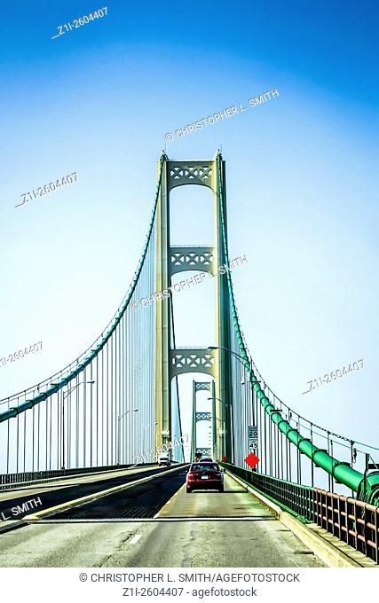 Driving on the Mackinac Suspension Bridge from Saint Ignace to Mackinaw City Michigan MI