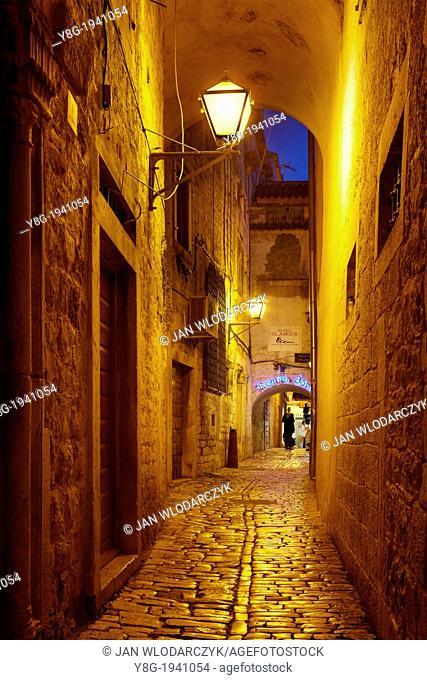 Croatia - Old Town in Trogir, street by night, Dalmatia, Croatia, UNESCO