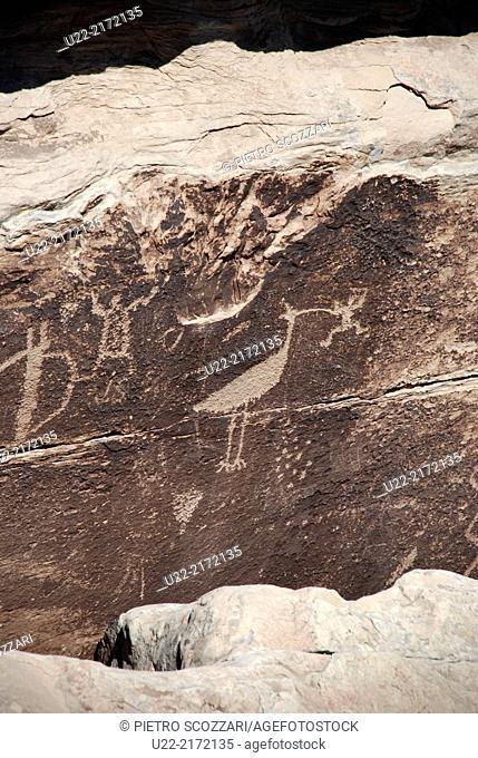 Arizona, U.S.A., petroglyphs pecked into desert varnish in Petrified Forest National Park