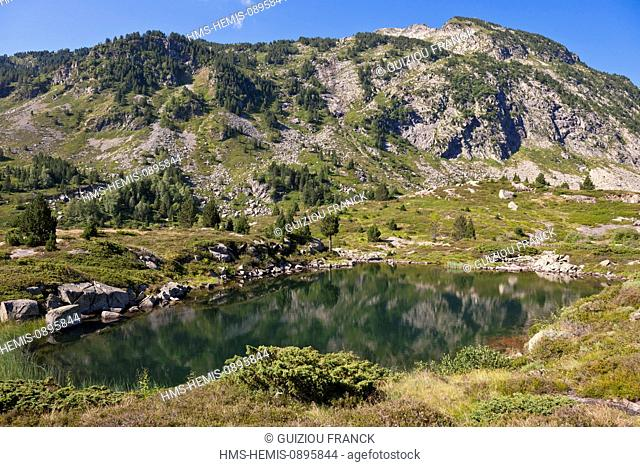 France, Ariege, Parc Naturel Regional des Pyrenees ariegeoises, Auzat Vicdessos Valley, hiking to the Bassies ponds on the GR10 hiking path