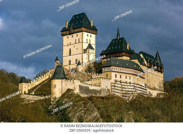 Karlstejn Castle is a large Royal Gothic castle founded 1348 CE by Charles IV, Holy Roman Emperor and King of Bohemia
