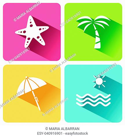 Four summer and tourism icons set with shade. First group. Vector illustration