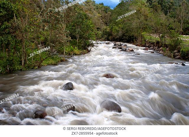 "Landscape of the River """"Río Arriba"""" in the Valley of Cocora, Colombia. Colombian coffee growing axis. The Colombian coffee Region"