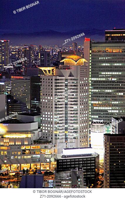 Japan, Osaka, Kita district, skyline, aerial view,