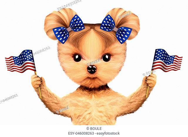Funny dog holding USA flags. Concept of 4th of July and Independence Day, Realistic 3D illustration