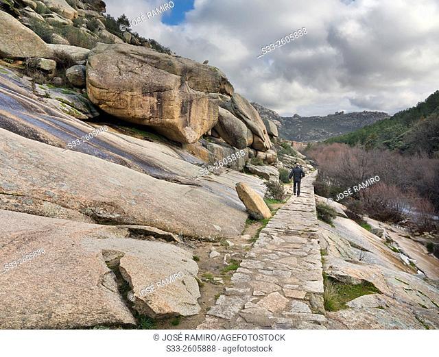 Track in Camorza gorge in the Pedriza. Sierra de Guadarrama. Manzanares el Real. Madrid. Spain. Europe