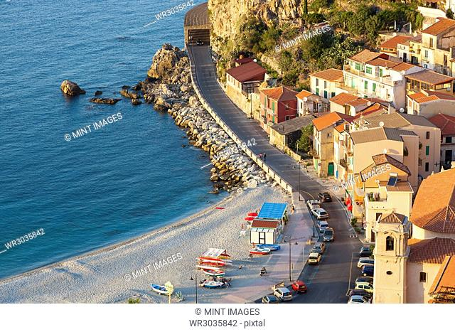 High angle view of seaside town with sandy beach on the Mediterranean coast