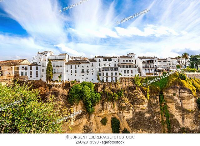 old town of Ronda, houses at the gorge side, province of Malaga, Andalusia, Spain