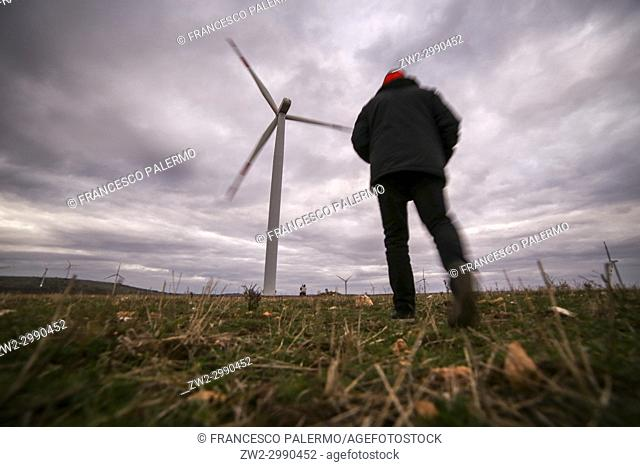 The wind turbines in the north of Puglia. Minervino Murge, Puglia. Italy