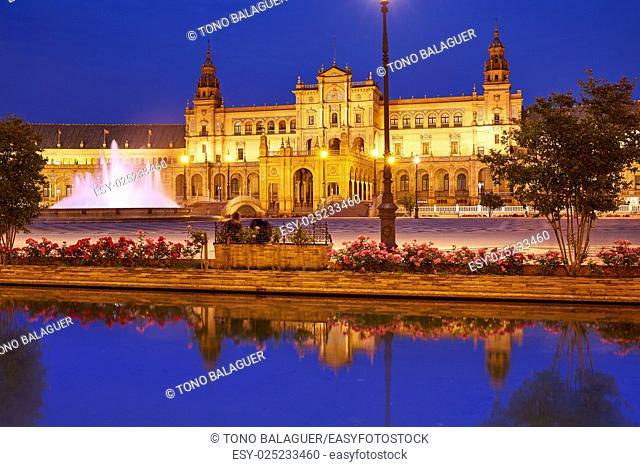 Seville Sevilla Plaza de Espana at sunset in Andalusia Spain square