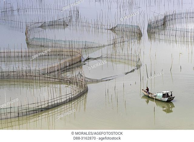 China, Fujiang Province, Xiapu County, Cages with nets for raising fish in open sea, Fish Farming, boat