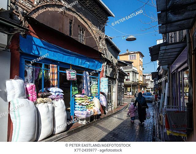 traditional shopping street the Balat / Fener neighbourhood of Istanbul. Turkey