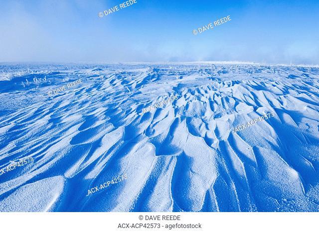 Snow drifts caused by wind, Southern Saskatchewan, Canada