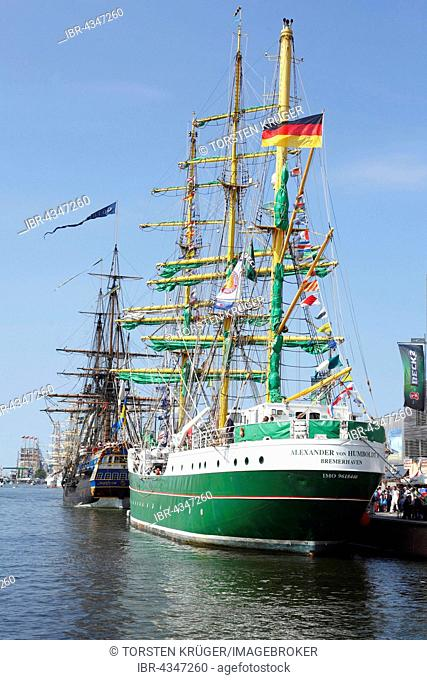 Hospitality ship Alexander von Humboldt II in the Neuer Hafen harbour at the Sail 2015 festival, Bremerhaven, Bremen, Germany