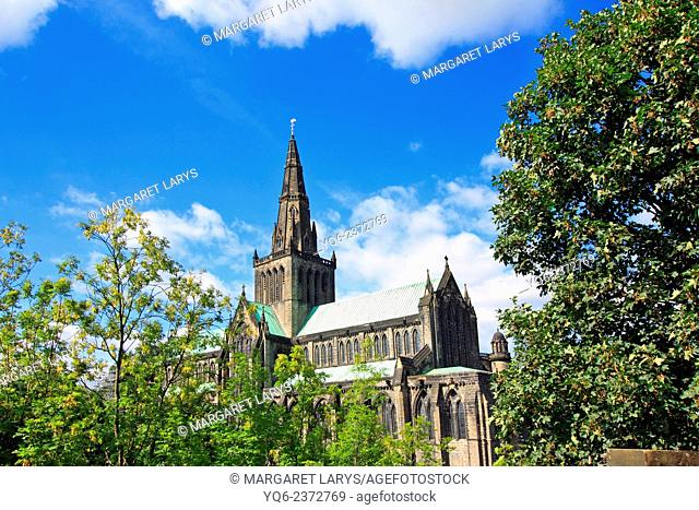 Glasgow Cathedral seen from Necropolis Cemetery, Scotland