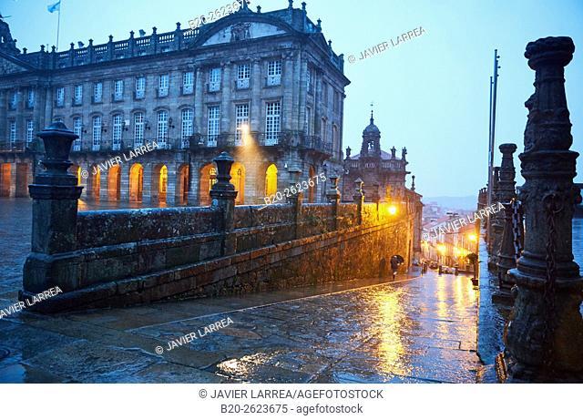 Pazo de Raxoi (now the Town Hall) on Plaza del Obradoiro, Santiago de Compostela, A Coruña, Galicia, Spain