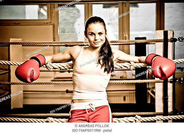 Young woman resting at boxing