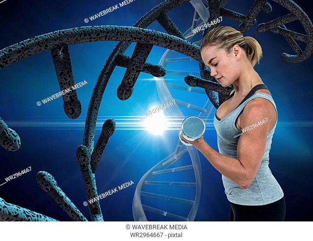 sporty woman with dna chain and blue background
