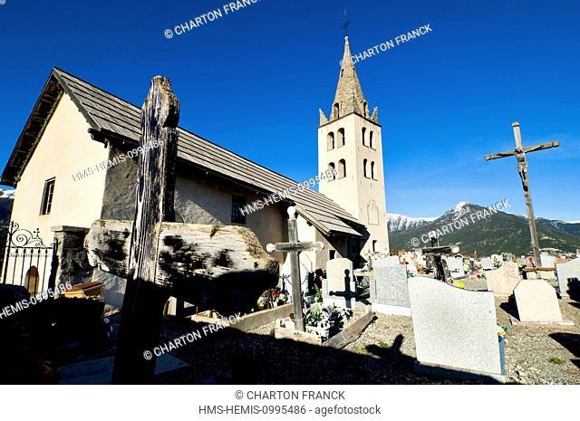 France, Hautes Alpes, Puy Saint Pierre, church and cemetery