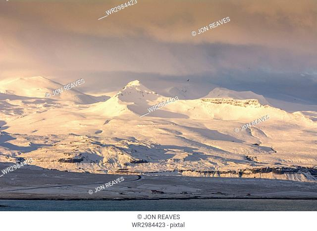 Snow covered mountain peaks on the Snaefellsness Peninsula, Iceland, Polar Regions