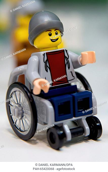 A Lego figure in a wheelchair can be seen at the stand for the Danish manufacturer Lego at the 67th International 'Speilwarenmesse'toy fair inNuremberg