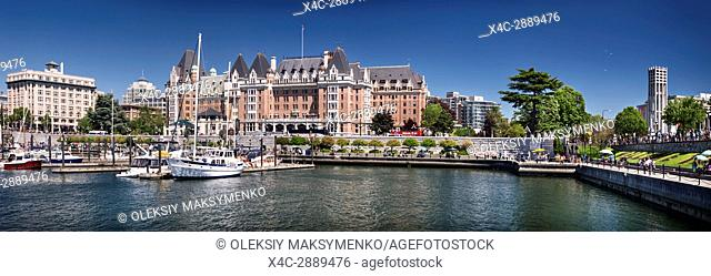 Panoramic city skyline of The Fairmont Empress historic hotel and harbour front in Victoria, Vancouver Island, British Columbia, Canada 2017
