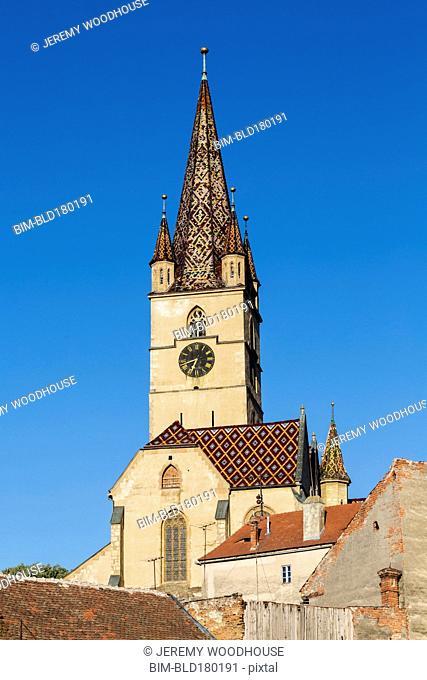 Clock tower under blue sky, Sibiu, Romania