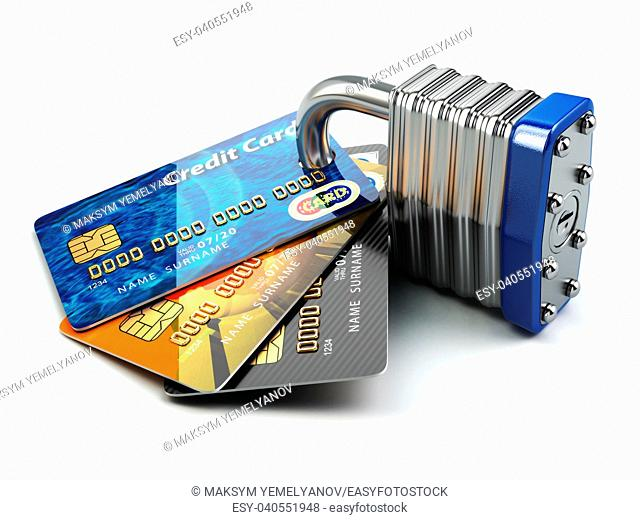 Secure payment internet online shopping concept. . Credit cards and padlock. 3d