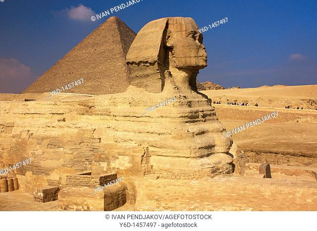 The Great Sphinx and the Pyramid of Khufu, Giza, Egypt