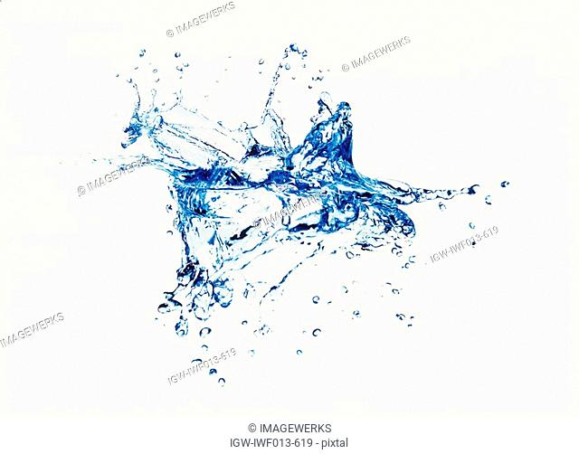 View of splattered water digital composite