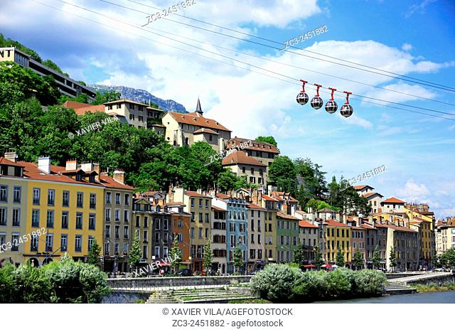 Cable car and city of Grenoble, Isere, Rhone Alpes, France