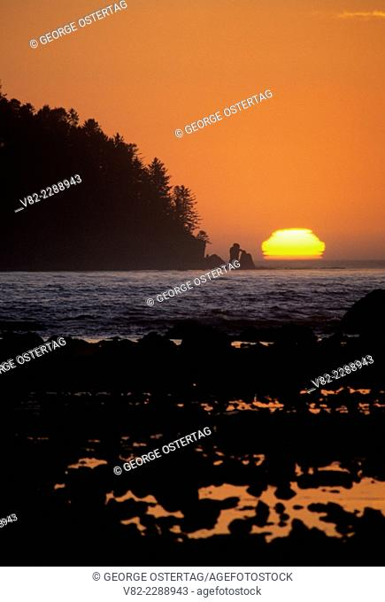 Sunset over Ozette Island, Olympic National Park, Washington
