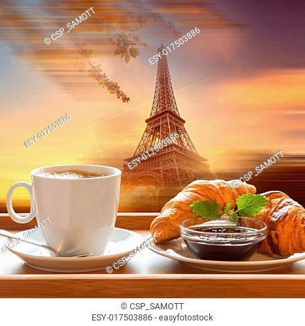 Eiffel Tower with cafe in Paris