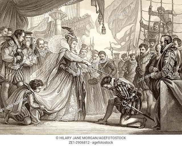 Queen Elizabeth knighting Sir Francis Drake on board the Golden Hind at Deptford, London, April 4th, 1581. Elizabeth I ,1533 to 1603