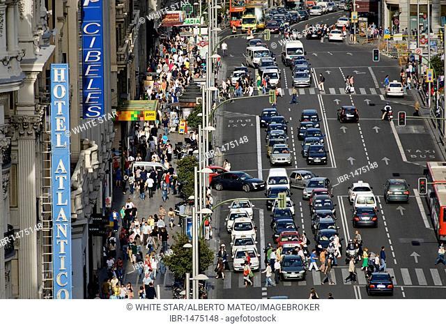 Traffic in the Gran Via, Madrid, Spain, Europe