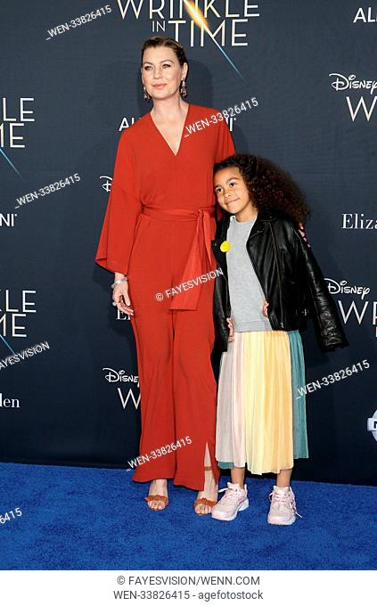 World premiere of Disney's 'A Wrinkle In Time', held at El Capitan Theatre in Los Angeles, California. Featuring: Ellen Pompeo