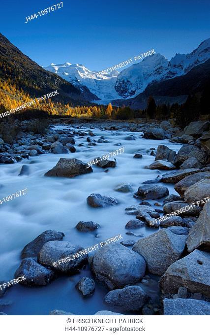 Alps, Alpine, panorama, view, mountain, mountains, massif, Biancograt, ice, cliff, river, flow, mountains, summit, peak, glacier, Graubünden, Grisons, autumn