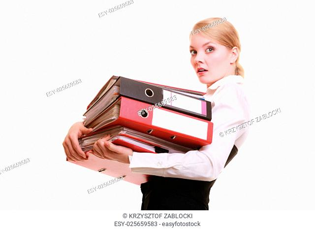 Businesswoman Carrying Stack Of Documents Stock Photos And