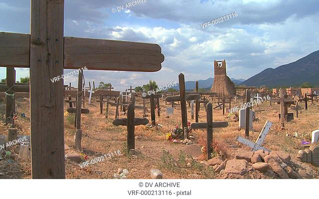 Christian graves and crosses in the Taos pueblo cemetery