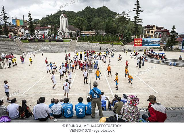 A group of vietnamese playing volleyball in Sa Pa (Lao Cai province,Vietnam)