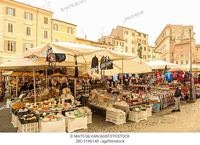 Market in Piazza Campo dei Fiori in Rome, Italy