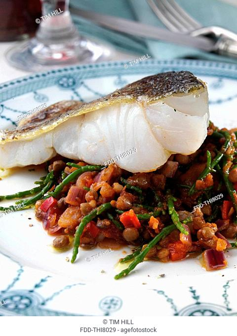 Pollock or pollack with lentils and samphire