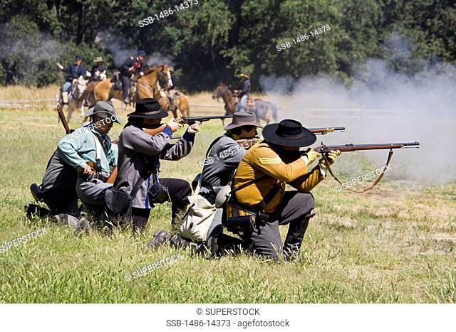 USA, California, Kern County, Lebec, Fort Tejon State Historic Park, Civil War reenactment at Fort Tejon State Historic Park