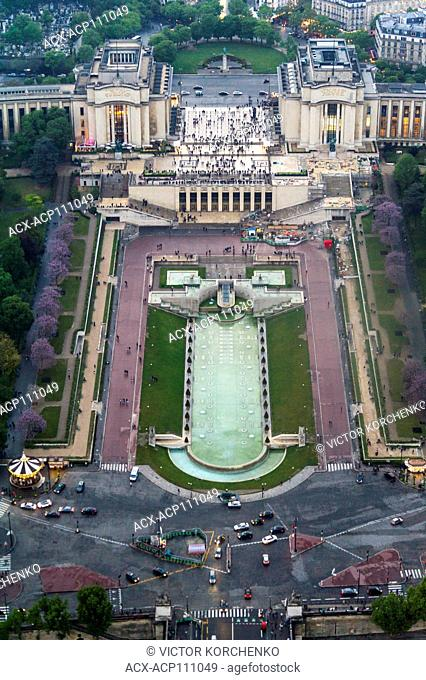Aerial view of Trocadero from Eiffel Tower