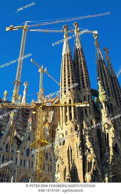 Temple Expiatiori de la Sagrada Familia church in process being built Eixample district Barcelona Spain Europe
