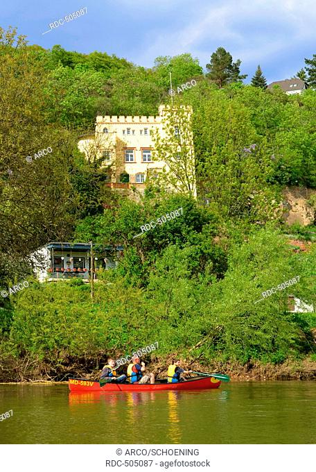 Canoe on river Saale, Saxony-Anhalt, Germany