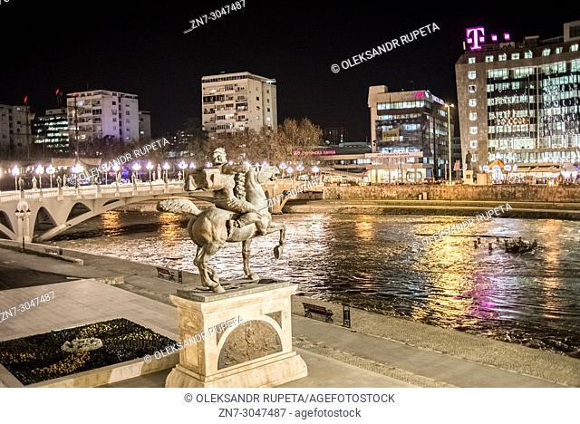 Skopje city center at night, Macedonia
