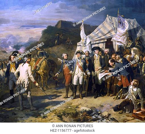 'Siege of Yorktown', 1781 (c1836). French General Jean de Rochambeau (1725-1807) and American General George Washington (1732-1799) giving the last orders for...