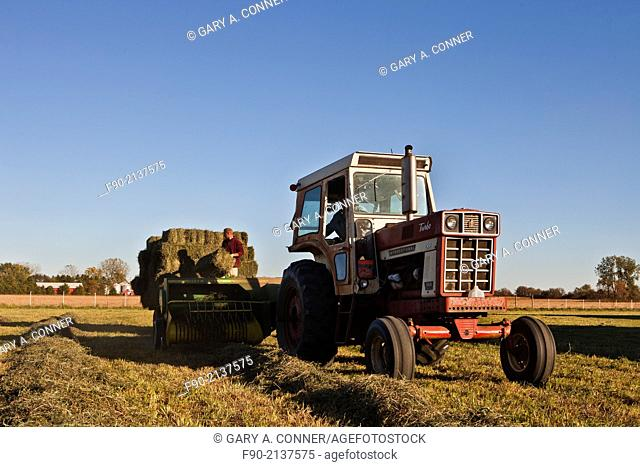 Baling hay in autumn, Indiana, United States